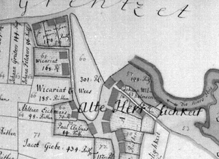 'Alte Herrlichkeit' around 1730, plot Nr. 61 'Wikariat', excerpt from a map of the Cleves Land Register, here: Fiefdom Wissen, folio 4, 1731/1732.