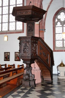 The pulpit (1620) stems from the Marienwasser Monastery, which was secularised in 1802