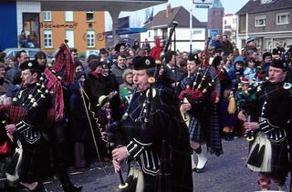 The bagpipe band of RAF Laarbruch was always a special attraction during festivities and parades, carnival 1979.