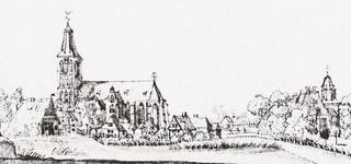 Sankt Cyriakus and Hertefeld Manor seen from the south-east, sketch by Jan de Beijer, 1743.