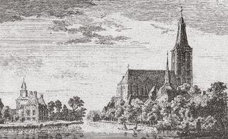 Hertefeld Manor (to the left) and the Sankt Cyriakus church as seen from the North, copperplate etching by P. van Liender from a drawing by Jan de Beijer, 1743.